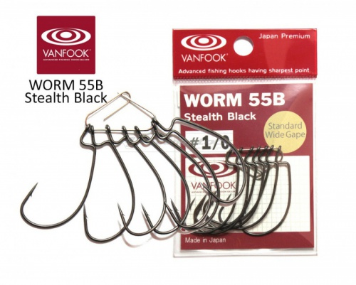 Крючки Vanfook офсетные Worm 55B Stealth Black